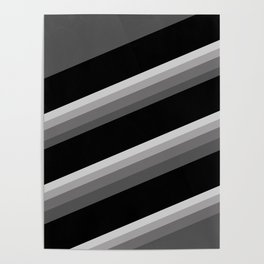 Simple black and white striped pattern . Oblique stripes . Poster