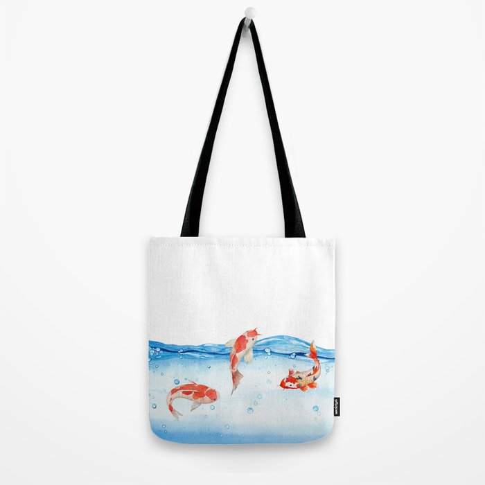 Happy koi fish- fishes sea water lake Tote Bag
