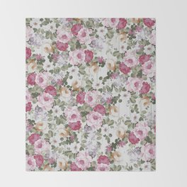 Vintage rustic white wood blush pink floral Throw Blanket