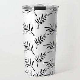 White and Black Leaf Design Travel Mug