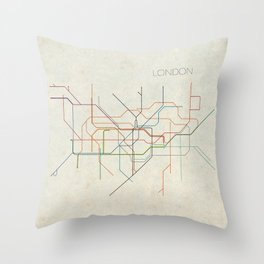 Minimal London Subway Map Throw Pillow