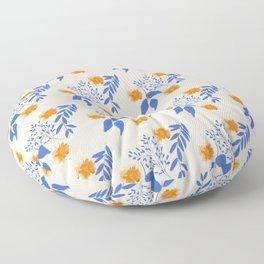 Floral Pattern Indigo Orange Blue Floor Pillow