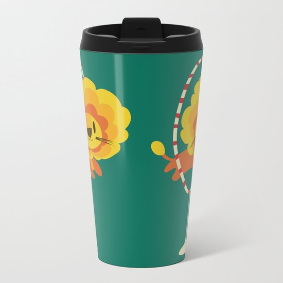 Lion hopped through a loop Metal Travel Mug