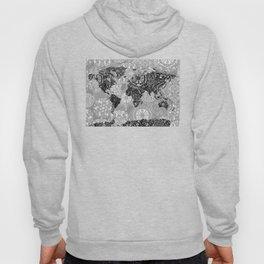 world map mandala black and white 1 Hoody