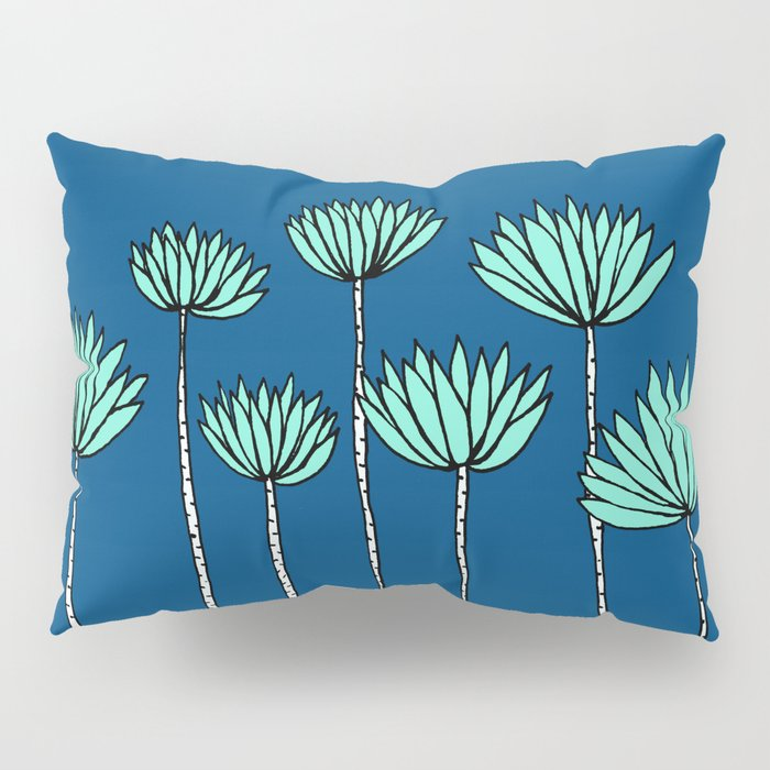 Blue and Teal Tropical Botanical Print by Emma Freeman Designs Pillow Sham