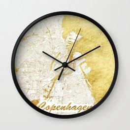 Copenhagen Map Gold Wall Clock