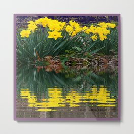PUCE & YELLOW DAFFODILS WATER REFLECTION PATTERN Metal Print