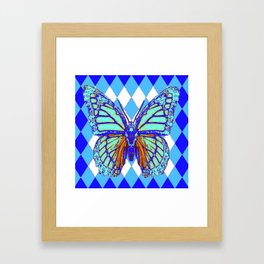 ABSTRACTED BLUE MONARCH BUTTERFLY PATTERN Framed Art Print