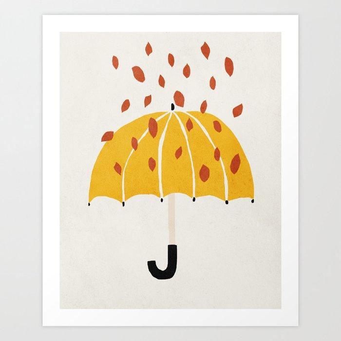 Umbrella, Autumn, Mid century modern kids wall art, Nursery room Art Print