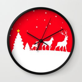 deer family in winter landscape Wall Clock