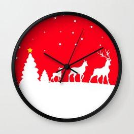 deer family in winter landscape Wall Clock