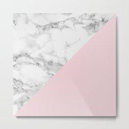 Marble + Pastel Pink Metal Print