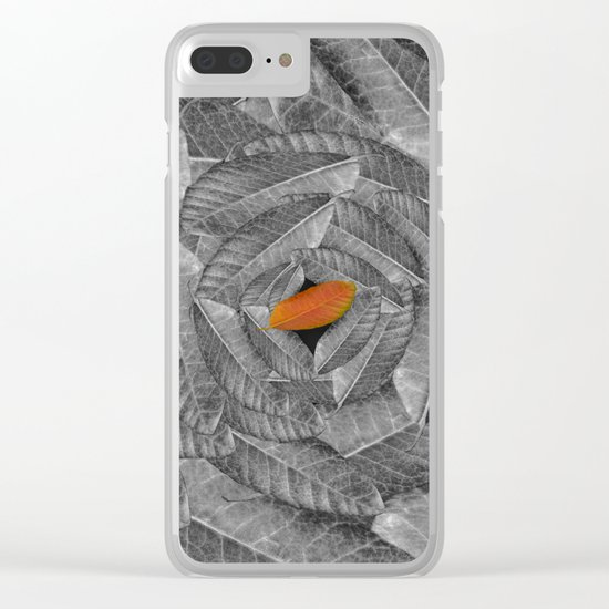 Orange Leaf On Grey And Silver Leaves - Beautiful Background - Autumn mood - #Society6 #buyart Clear iPhone Case