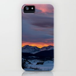 Cold Morning, Fiery Sunrise. Colorado Winter. iPhone Case