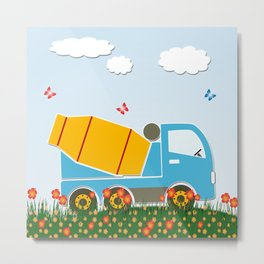 Cement mixer truck Metal Print