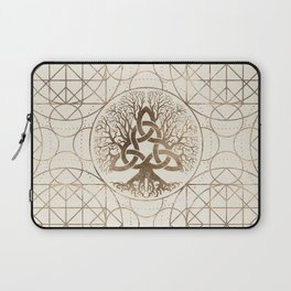Tree of life -Yggdrasil with Triquetra Pastel gold Laptop Sleeve