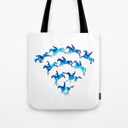 Connected to Showjumping (Blue) Tote Bag