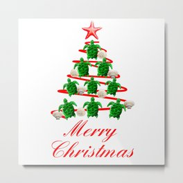 Coastal Merry Christmas Metal Print