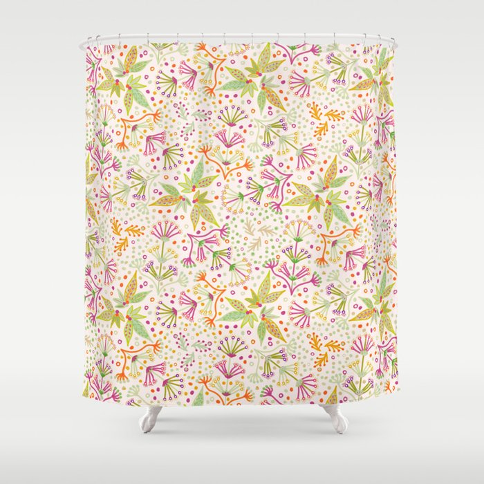 Spring Flower Meadow, Sunny Vibes in Orange, Lime & Fuchsia Pink Floral Blooms Shower Curtain