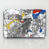 kansas city iPad Cases featuring Kansas city mondrian map by Mondrian Maps