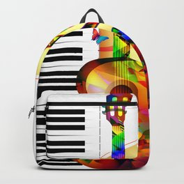 Colorful  music instruments painting, guitar, treble clef, piano, musical notes, flying birds Backpack