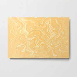 Yellow Liquid Marble Metal Print