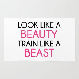 Look Like A Beauty / Train Beast Gym Quote Rug