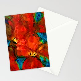 Garden Spirits - Vibrant Red Poppies Flowers By Sharon Cummings Stationery Cards