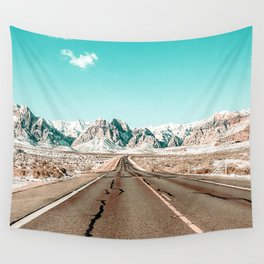 Vintage Desert Road // Winter Storm Red Rock Canyon Las Vegas Nature Scenery View Wall Tapestry