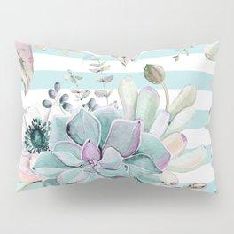 Succulents in the Garden Succulent Blue Stripes Pillow Sham