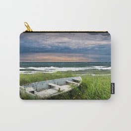Abandoned Boat on Grassy Shore Land at Sunset Carry-All Pouch