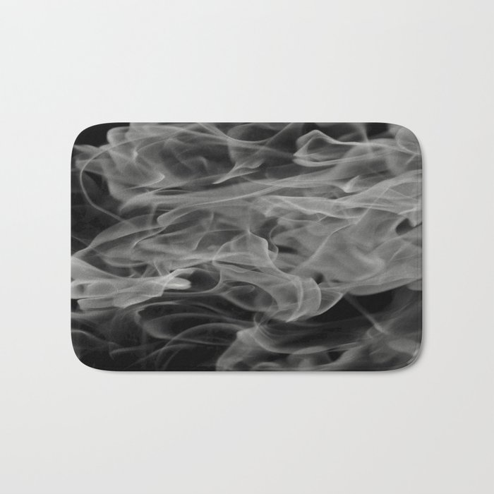 Whispers - Black and white abstract Bath Mat