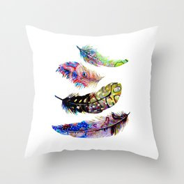 Psychedelic Feathers Throw Pillow