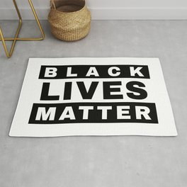 BLACK LIVES MATTER (in style of Explicit Content notice) Rug