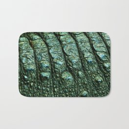 Green Alligator Leather Print Bath Mat