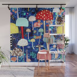 Blue Mushrooms - Zu hause Marine blue Abstract Art Wall Mural