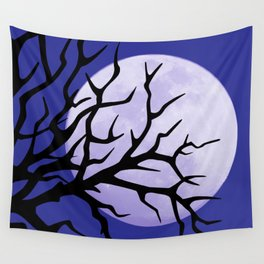 night tree and moon Wall Tapestry