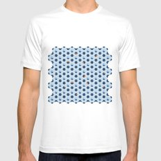 Blue Cubes White MEDIUM Mens Fitted Tee