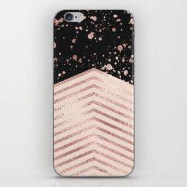 Luxury Rose Gold Pink Black Chevron Paint Splatter iPhone Skin