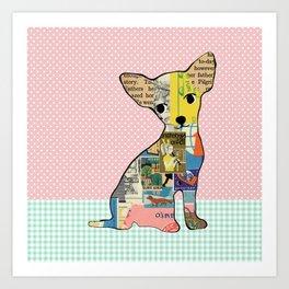 Cute Chihuahua Dog Collage with polka dots Art Print