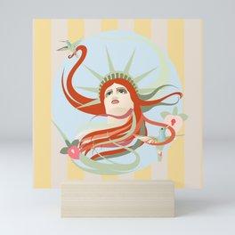 Liberty Awakes - yellow stripes Mini Art Print