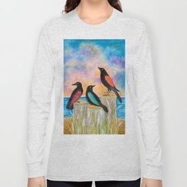 Three Crows at the beach Long Sleeve T-shirt