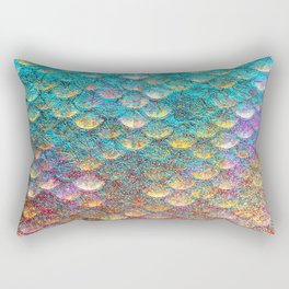 Aqua and Gold Mermaid Scales Rectangular Pillow