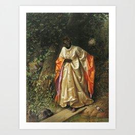 Dark Chocolate Labrador - hide and seek - old masterpiece collage Art Print