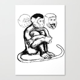 Thoughtful Freudian Monkey Canvas Print