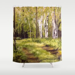 Birch Trees Nature Landscape Oil Painting Shower Curtain