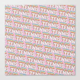 Tennis Trendy Rainbow Text Pattern (Pink) Canvas Print