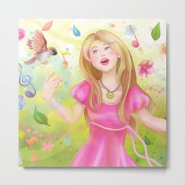 Colorful Spring Singer Metal Print