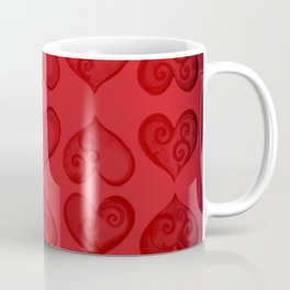 'Off With His Head Red Hearts Pattern' Wonderland styled design by Dark Decors Coffee Mug