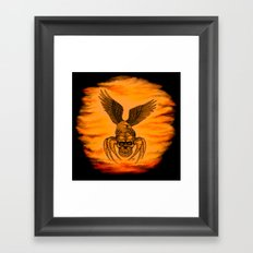 Spider Skull and Eagle in Tattoo Style , Black Red Yellow design Framed Art Print
